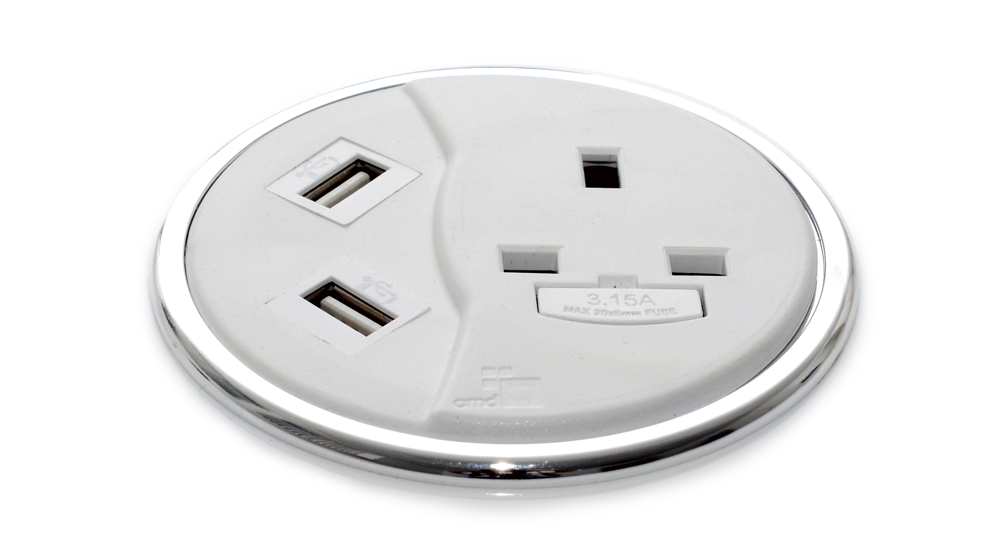 White Porthole II power and USB charging module