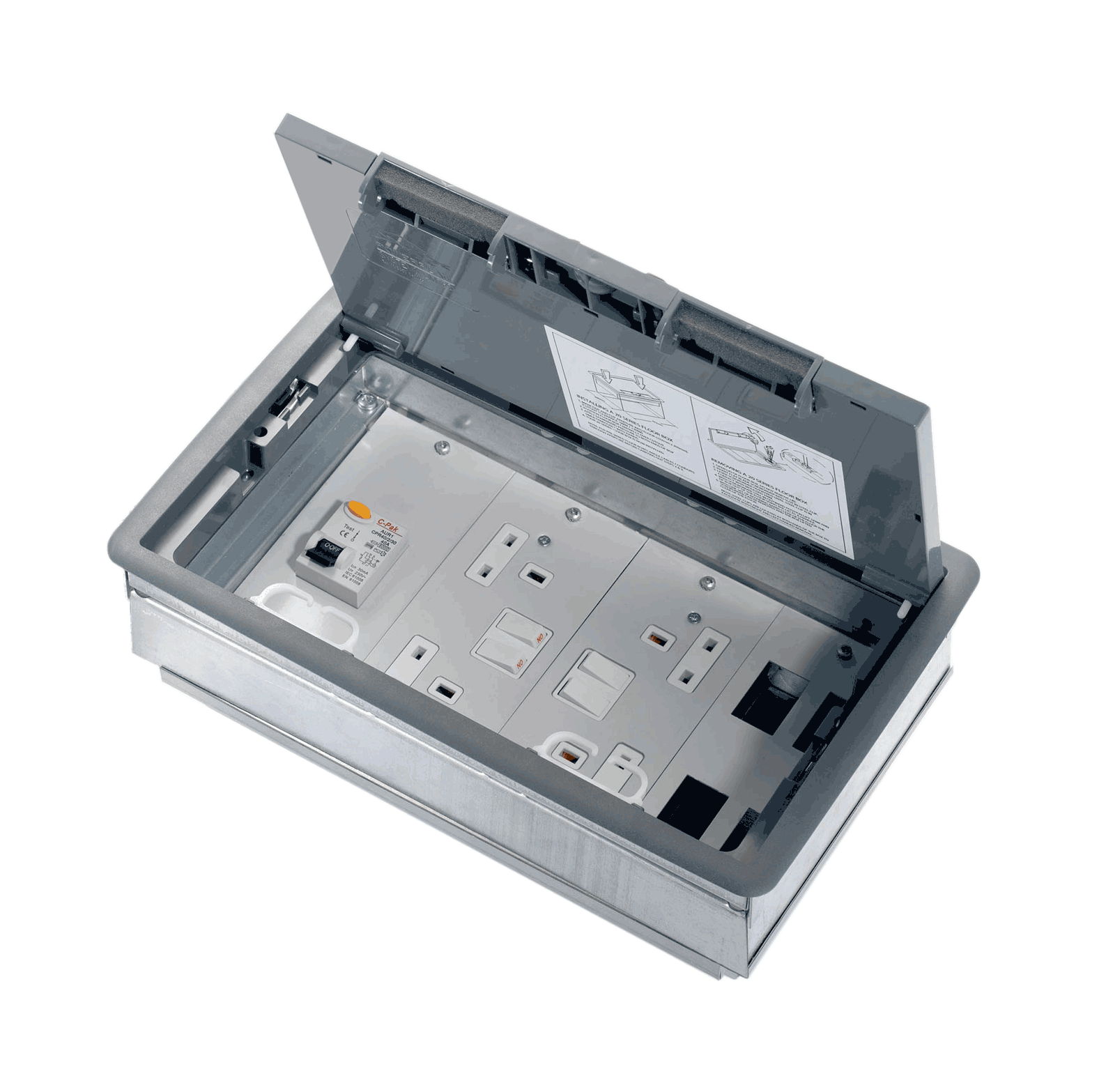 Integral RCD RCBO Floor Box